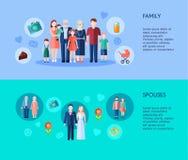 Familie en Echtgenotenbanners Stock Fotografie