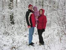 Familie en eerste sneeuw Stock Afbeelding