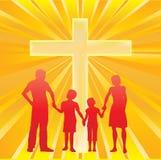 Familie en het Kruis Stock Afbeelding