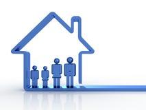 Familie en huis stock illustratie