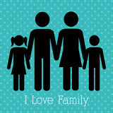 Familie en huis Stock Fotografie