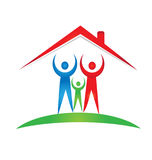 Familie en huisstichtingsembleem stock foto