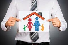 Familie en huisverzekeringsconcept Royalty-vrije Stock Foto