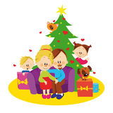 Familie en Kerstmisboom Stock Afbeeldingen