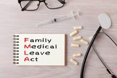 Familie en Medisch Verlofakte FMLA stock foto's
