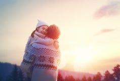 Familie en wintertijd Royalty-vrije Stock Afbeelding