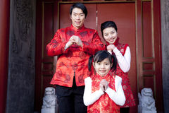 Familie feiert Chinesisches Neujahrsfest Stockfotos