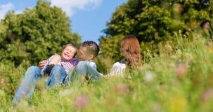 Familie geknuffelzitting op weide in de zomer stock afbeelding