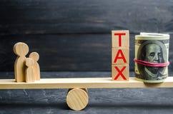 Familie, geld en de woorden` Belasting ` op de schalen Belastingen op onroerende goederen, betaling Sanctie, schuldvorderingen Re stock fotografie