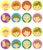 Familie gelukkige gezichten en droevige gezichten stock illustratie