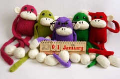 Familie, gevuld dierlijk, nieuw jaar, grappige aap, Stock Fotografie