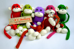 Familie, gevuld dierlijk, nieuw jaar, grappige aap, Stock Foto's