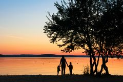 Familie hält Hände unter Baum bei Sonnenuntergang lizenzfreie stockfotos