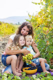 Familie halten buhch von Trauben im Weinberg Stockfoto