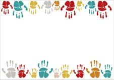 Familie handprints vectorillustratie Familie handprints van mamma, papa, kind en baby Sociale illustratie royalty-vrije illustratie