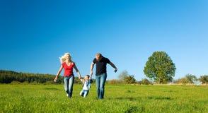 Familie in het gras Stock Foto's