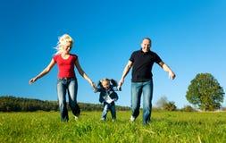Familie in het gras