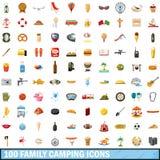 100 familie het kamperen geplaatste pictogrammen, beeldverhaalstijl Royalty-vrije Stock Afbeelding