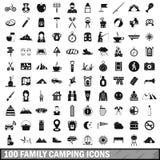 100 familie het kamperen geplaatste pictogrammen, eenvoudige stijl Royalty-vrije Stock Afbeelding