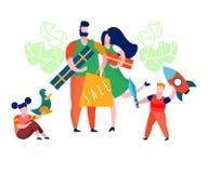 Familie het Krijgen stelt Vlakke Vectorillustratie voor stock illustratie