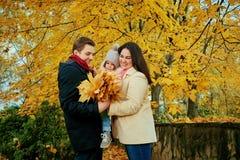 Familie het spelen in de herfst in het park stock foto
