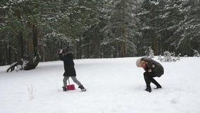 Familie het spelen door sneeuwballen in de winter 96fps te werpen stock video