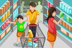 Familie het winkelen kruidenierswinkel Stock Afbeelding