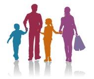 Familie het winkelen silhouetten Royalty-vrije Stock Foto