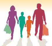 Familie het winkelen silhouetten Stock Foto