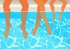 Familie in het zwembad Stock Afbeeldingen