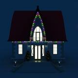 familie huis met het gloeien de lichten van Kerstmis Stock Afbeelding