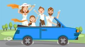 Familie im Auto lizenzfreie abbildung