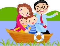 Familie im Boot lizenzfreie abbildung