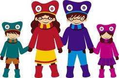 Familie im Kostüm lizenzfreie abbildung