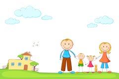 Familie im süßen Haus Stockfotos