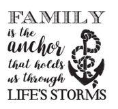 Familie ist der Anker Stockbild