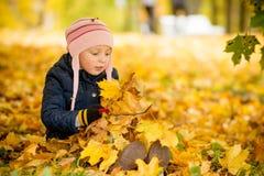 Familie, kinderjaren, dalingsseizoen en mensenconcept, het gelukkige meisje spelen met de herfstbladeren in park weinig kind, bab stock foto's