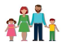 Familie kleurrijk silhouet Royalty-vrije Stock Foto's