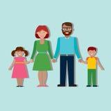 Familie kleurrijk silhouet Stock Afbeelding