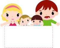 Familie met banner Stock Afbeeldingen