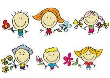 Familie met bloemen Royalty-vrije Stock Afbeelding