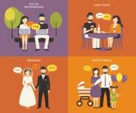 Familie met de vlakke geplaatste pictogrammen van het kinderenconcept Stock Afbeelding
