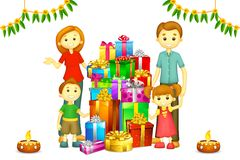 Familie met Gift Diwali Royalty-vrije Stock Foto