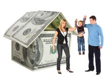 Familie met het hangen bot en de collage van het dollarhuis Stock Foto's