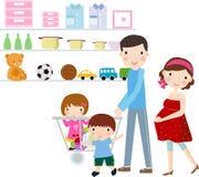 Familie met het winkelen Stock Fotografie