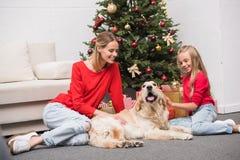 Familie met hond bij Kerstmisboom Royalty-vrije Stock Afbeelding
