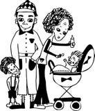 Familie met jonge geitjes Royalty-vrije Stock Afbeelding
