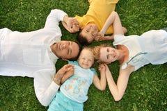 Familie met kinderen Stock Afbeeldingen