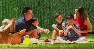 Familie met kinderen die pret hebben bij park stock footage