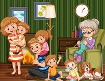 Familie met kinderen en grootmoeder in woonkamer royalty-vrije illustratie